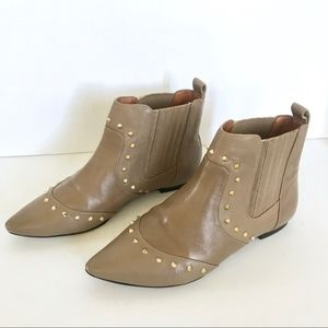SCHUTZ Emily Chelsea Stud Leather Taupe Ankle Boot